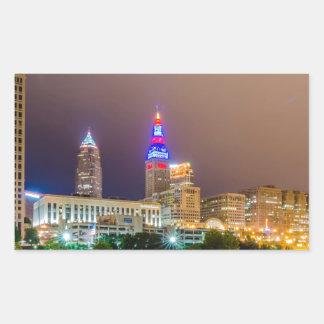 cleveland ohio sity skyline of downtown rectangular sticker