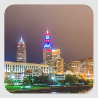 cleveland ohio sity skyline of downtown square sticker