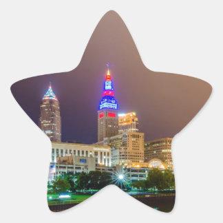 cleveland ohio sity skyline of downtown star sticker