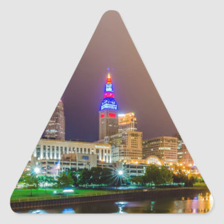 cleveland ohio sity skyline of downtown triangle sticker