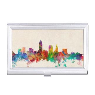 Cleveland Ohio Skyline Cityscape Business Card Holder