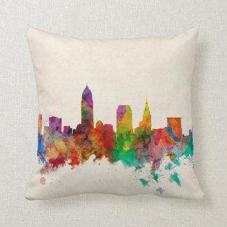 Cleveland Ohio Skyline Cityscape Throw Pillow