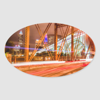 cleveland ohio skyline oval sticker