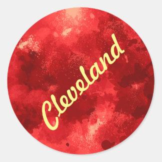 CLEVELAND, OHIO SKYLINE WB1 - CLASSIC ROUND STICKER