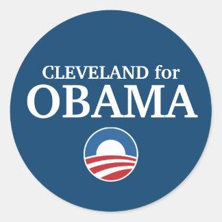 CLEVELAND para el personalizado de Obama su ciudad Pegatina Redonda