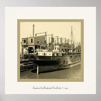 Cleveland & Pittsburgh Ore Docks ~ 1901~ Vintage Poster