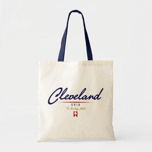 Cleveland Script Tote Bags