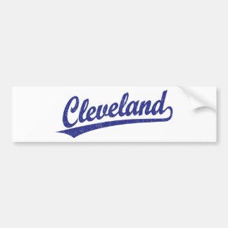 Cleveland script logo in blue bumper sticker
