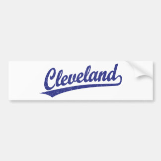 Cleveland script logo in blue car bumper sticker