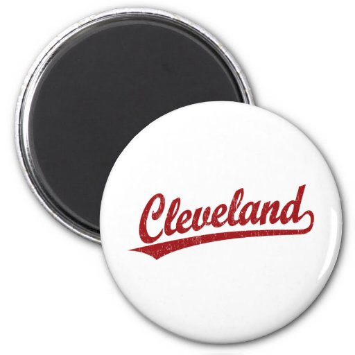 Cleveland script logo in red 2 inch round magnet
