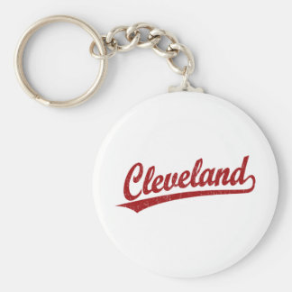 Cleveland script logo in red key chains