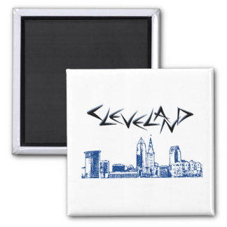 Cleveland Skyline 2 Inch Square Magnet
