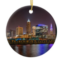 Cleveland Skyline at Night Ceramic Ornament