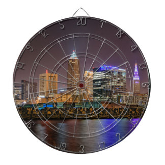 Cleveland Skyline at Night Dart Board