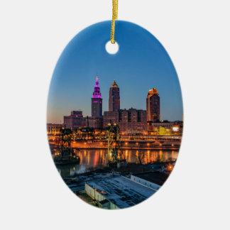 Cleveland Skyline at Sunset Ceramic Ornament