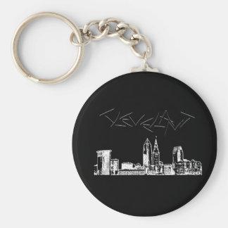 Cleveland Skyline Basic Round Button Keychain