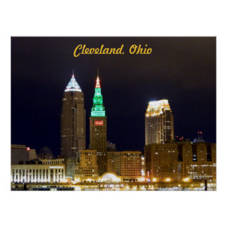 Cleveland Skyline (Holiday lights)Poster Poster