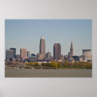 Cleveland Skyline in Spring Poster