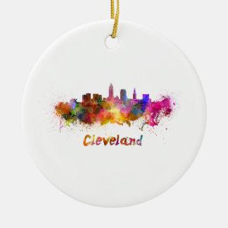 Cleveland skyline in watercolor ceramic ornament
