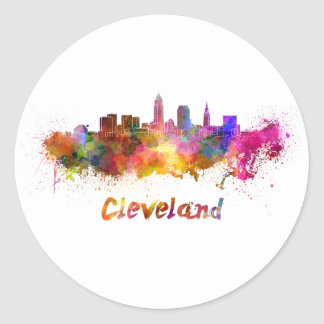Cleveland skyline in watercolor classic round sticker