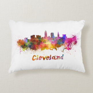 Cleveland skyline in watercolor decorative pillow