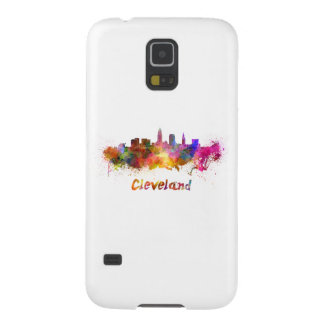 Cleveland skyline in watercolor galaxy s5 cover