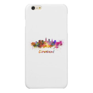 Cleveland skyline in watercolor glossy iPhone 6 plus case