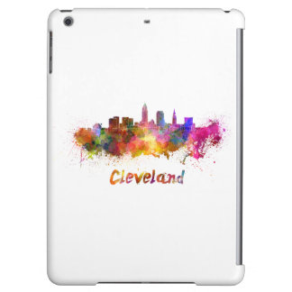 Cleveland skyline in watercolor iPad air cover