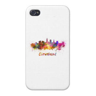 Cleveland skyline in watercolor iPhone 4/4S cover