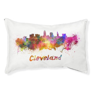 Cleveland skyline in watercolor pet bed