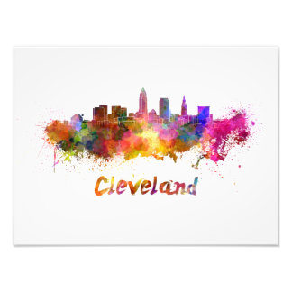 Cleveland skyline in watercolor photo print