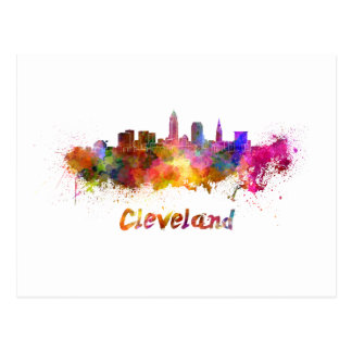 Cleveland skyline in watercolor postcard