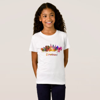 Cleveland skyline in watercolor T-Shirt