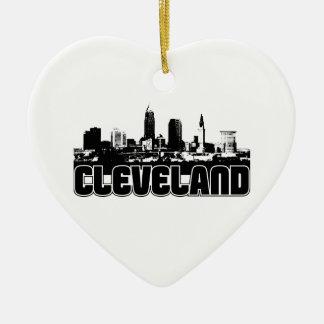 Cleveland Skyline Double-Sided Heart Ceramic Christmas Ornament