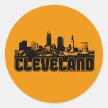 Cleveland Skyline Round Stickers