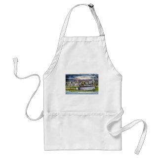 Cleveland Stadium Skyline at Dusk, Cleveland, Ohio Adult Apron