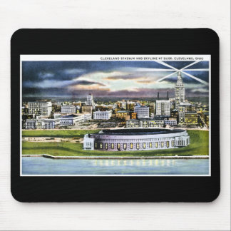 Cleveland Stadium Skyline at Dusk, Cleveland, Ohio Mouse Pad