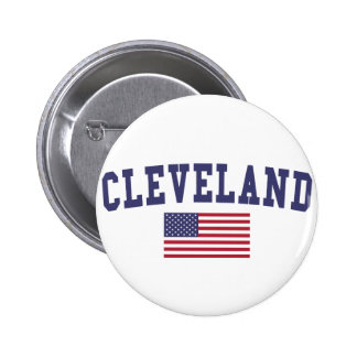 Cleveland TN US Flag Pinback Button