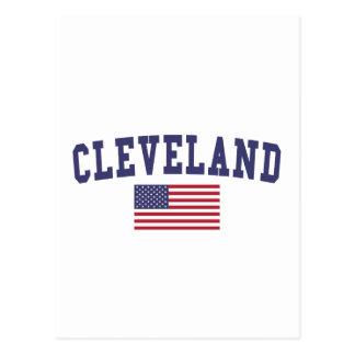 Cleveland TN US Flag Postcard