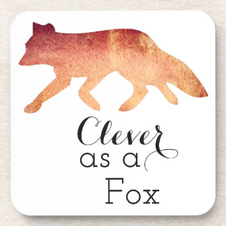 Clever as a Fox Typographical Watercolor Drink Coaster