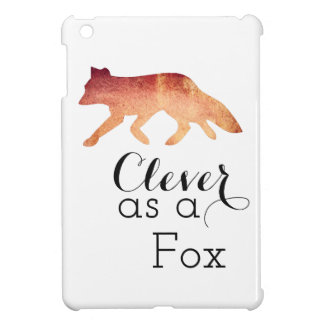 Clever as a Fox Typographical Watercolor iPad Mini Cases