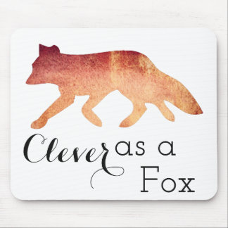 Clever as a Fox Typographical Watercolor Mouse Pad