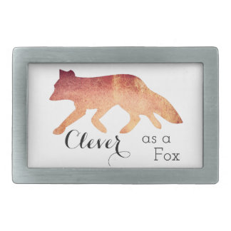 Clever as a Fox Typographical Watercolor Rectangular Belt Buckle