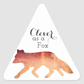Clever as a Fox Typographical Watercolor Triangle Sticker