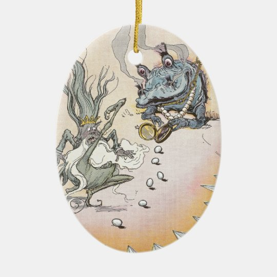 Clever Quox Rolls Eggs at Nome King Ceramic Ornament