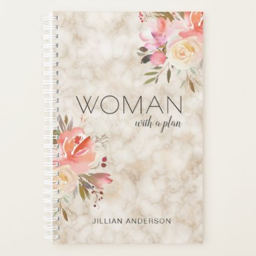 Professional Business Clever Woman With a Plan Floral Personalized Planner