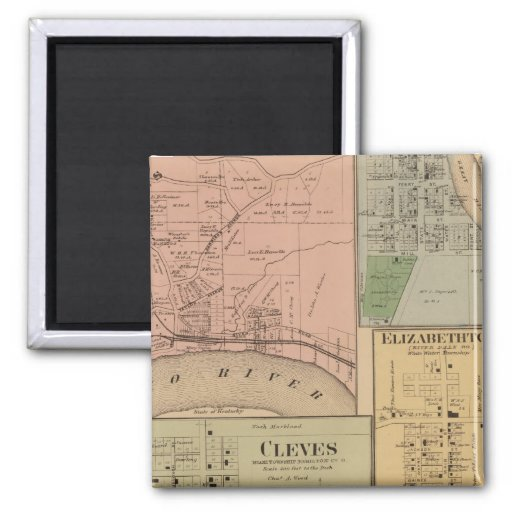 Cleves, North Bend, Ohio 2 Inch Square Magnet