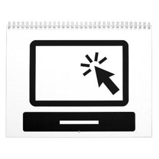 Clic del ratón de la computadora de escritorio calendarios