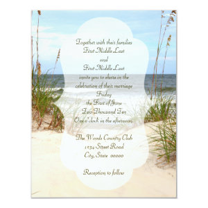 Click customize to change size - Beach Wedding 4.25x5.5 Paper Invitation Card
