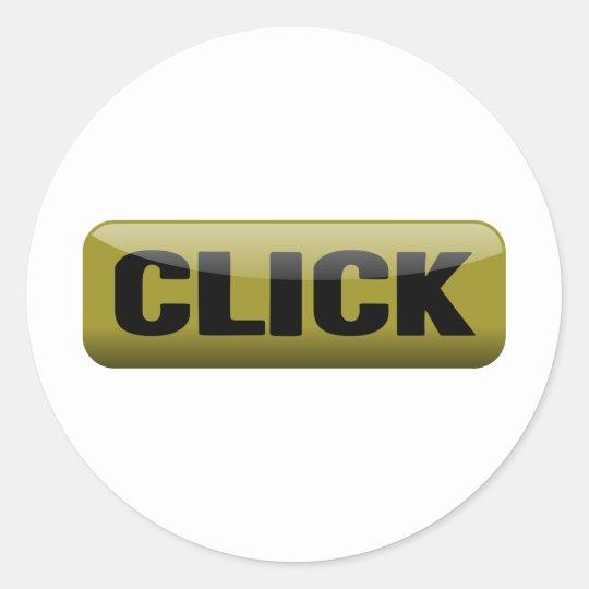 Click, Shiny Button - Mustard And Black Classic Round Sticker